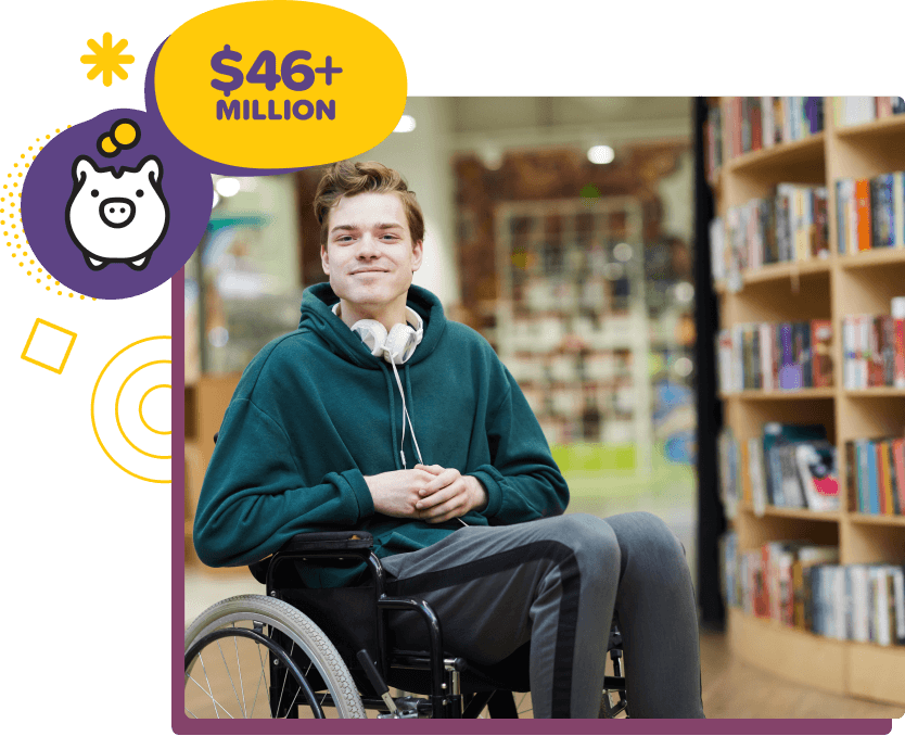 Teenager in Wheelchair with message - 45 Million Raised